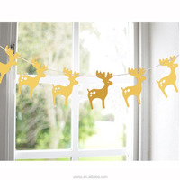 Paper Garlands String Hanging Flag for Christmas, New Year Party Decoration