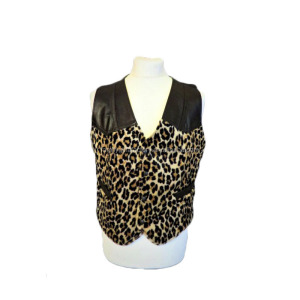 Wholesale Personalized Vintage Rocker Sleeveless Leopard Leather Man Vest