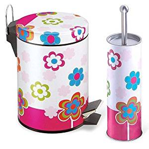 Multiple Colors Stainless Steel Waste Bin And Toilet Brush Set Flower