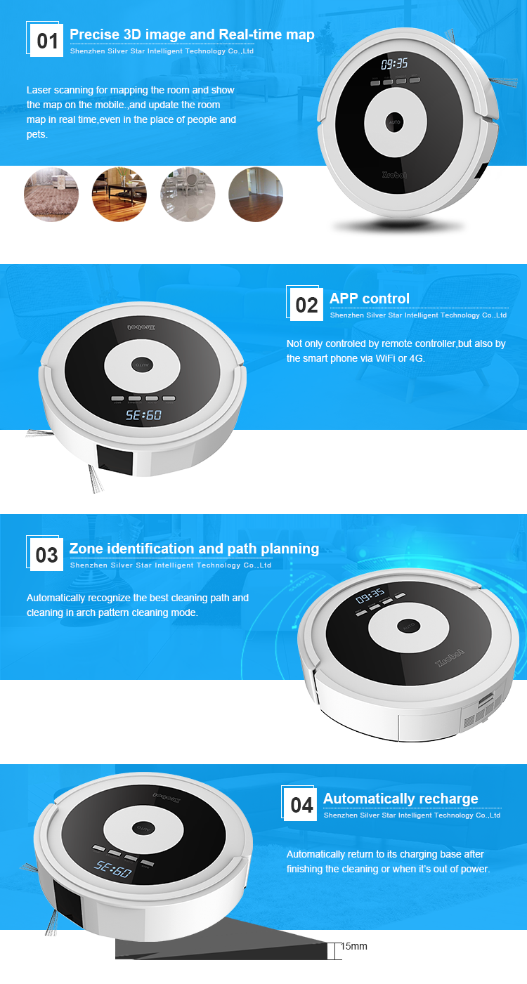 ODM custom intelligent path planning HEPA filter robot vacuum cleaner for Home Appliances