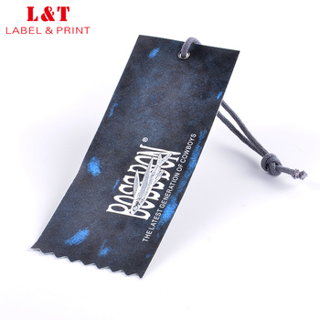 China Supplier Hot Sale Elastic String Die Cut Paper Hang Tags For Jeans