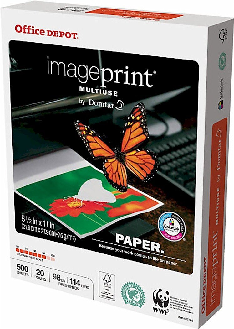 Office Depot ImagePrint Multiuse Paper by Domtar, 8 1/2in. x 11in., 20 Lb, FSC Certified, White, 500 Sheets, 1821RM