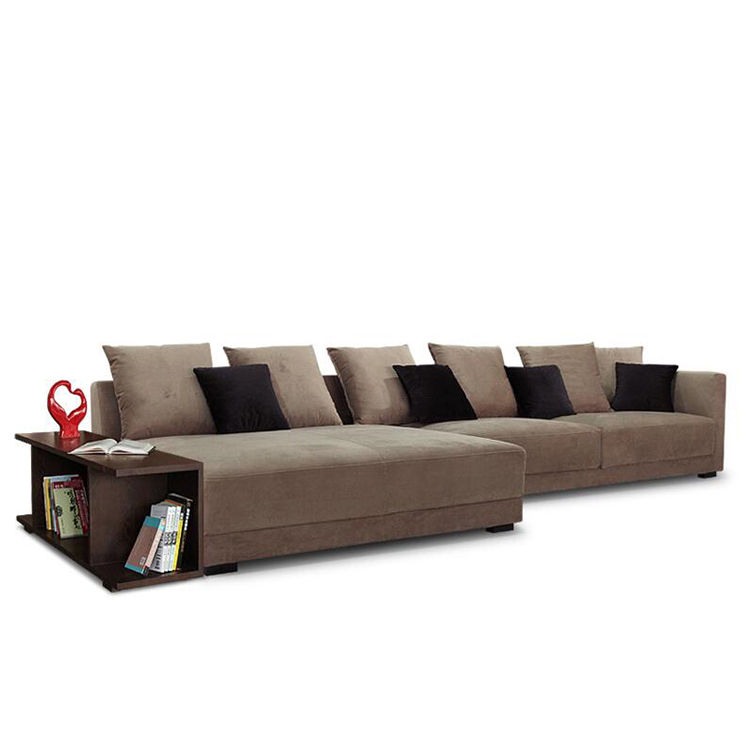 Velvet Fabric Sectional Sofa Set Chaise Lounge With Very Practical
