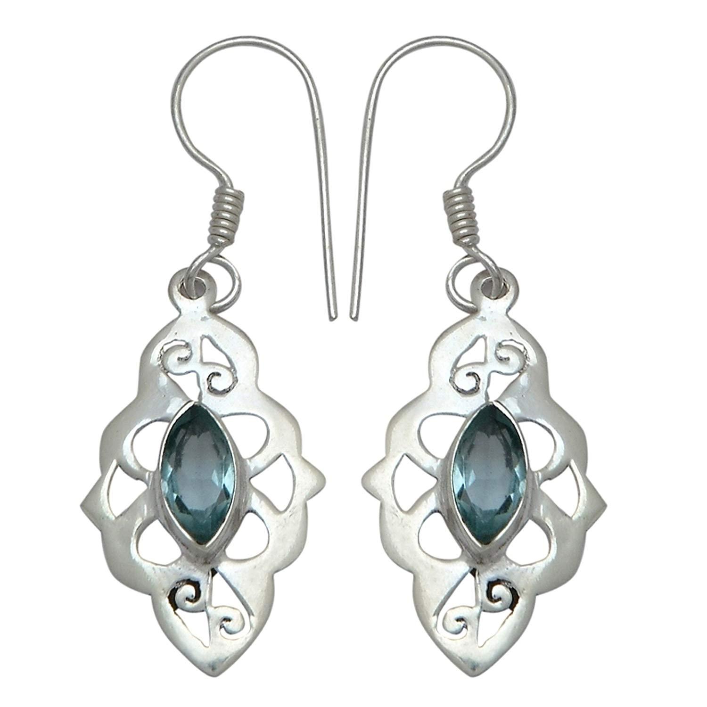 Elegantjewels 1 Pair Blue Topaz Quartz 925 Sterling Silver Beautiful 45x15mm Fancy Leaf Design Earring,Gemstone Handmade Earring