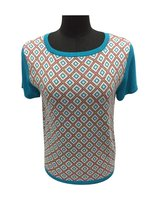 New Design Short Sleeve Round Neck Jacquard Pullover Sweater