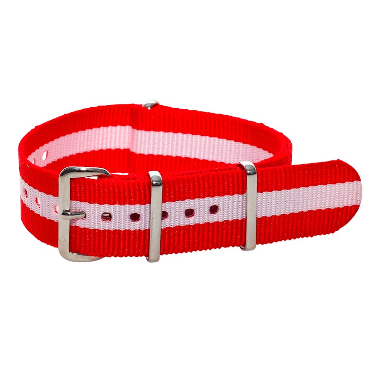 NATO G10 Nylon Premium Quality Replacement Watch Band Strap - 22mm / Swiss Flag Colors - FITS ALL BRAND WATCHES