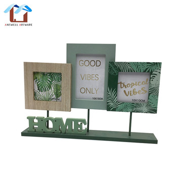 Custom home decoration gift free standing wooden custom family three picture photo frame, photo frame set