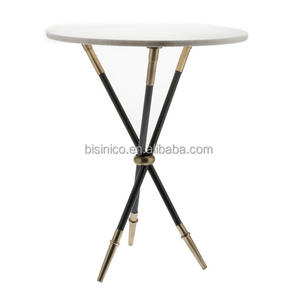 Unique Design Iron Art End Table With Tripod, Neo Classical Marble Coffee  Table With