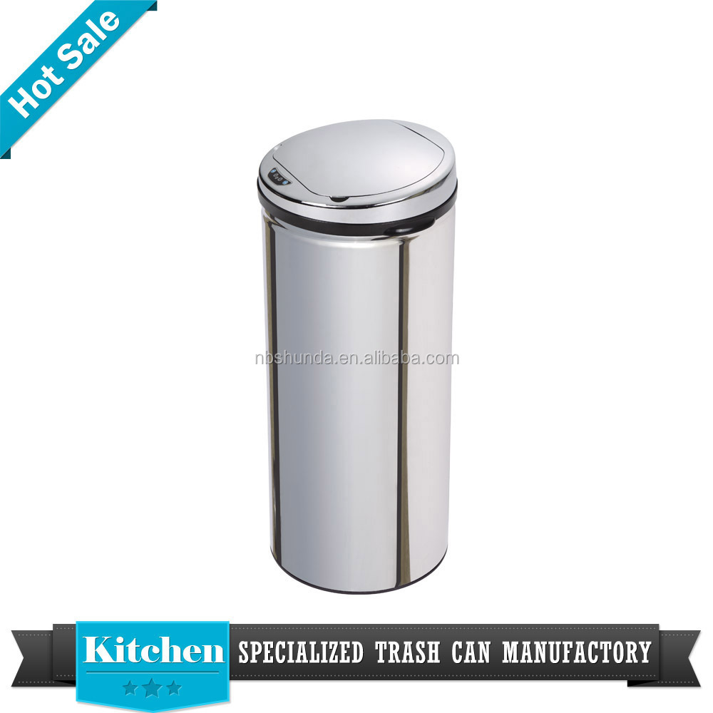 42L stainless steel silver dustbin office electronical bin trash can