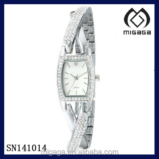 Women's Crystal Accented Organic Shaped Silver-Tone Bangle Watch