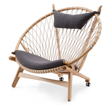 Hot sale outdoor leisure balcony woven rope wooden frame lounge chair
