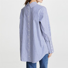 Women Button At Back Long Sleeve Cotton Striped Print Reversed Oxford Tunic Shirts