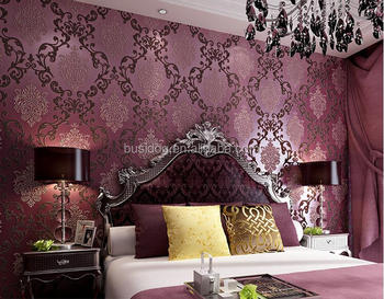 Deep Purple 3d Velvet Flower Wallpaper For Living Room Wallpaper