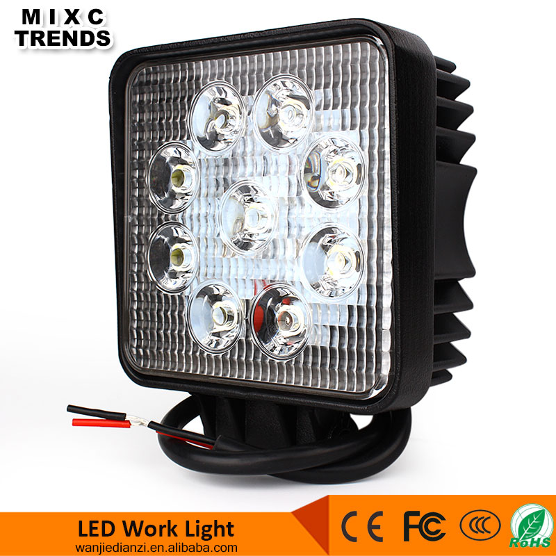 27W Square Spot Flood LED 12V 24V Car Driving Fog Light for Jeep 4x4 4WD AWD SUV ATV Golf Cart renault duster