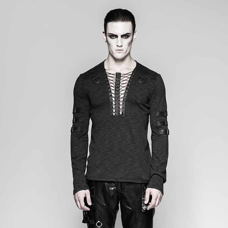T-462 Gothic festival black punk V neck long sleeve men shirts