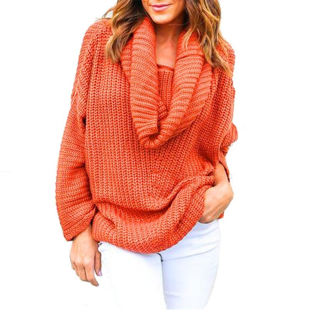 Women Blouse,Haoricu Fall Women Oversized Batwing Sleeve Turtleneck Knitted Sweater Tops Loose Cardigan Outwear (Free Size, Orange)