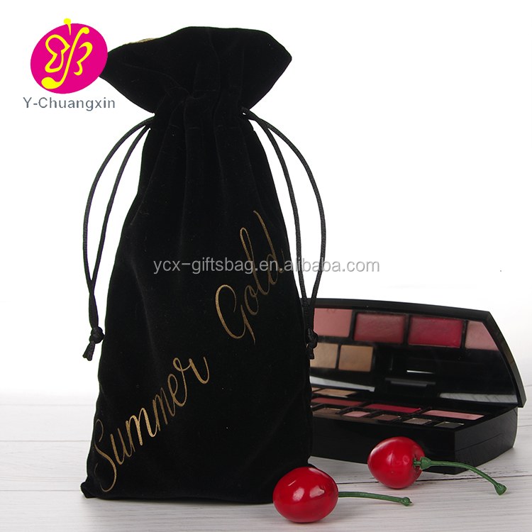 Black velvet fashion jewelry pouch bag with custom gold logo printing