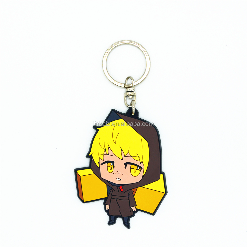 Make top quality cartoon character rubber keychain anime