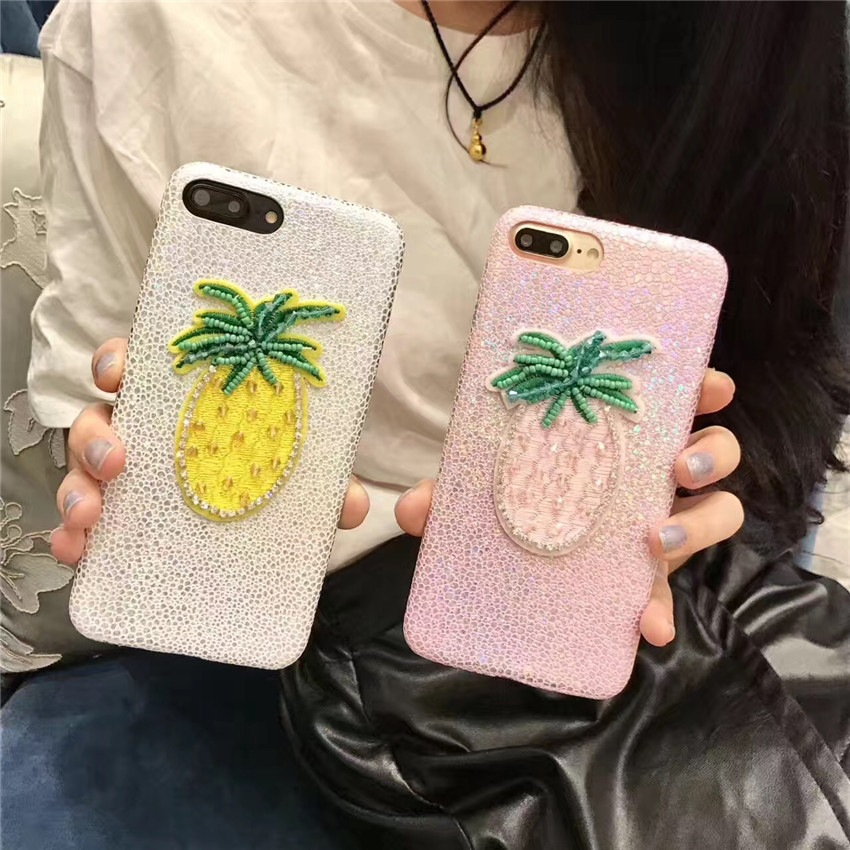 Creative Summer Fresh Fruit Pineapple Embroidery Phone Case for iphone 7plus TPU Protective Cover for iphone 6/6s