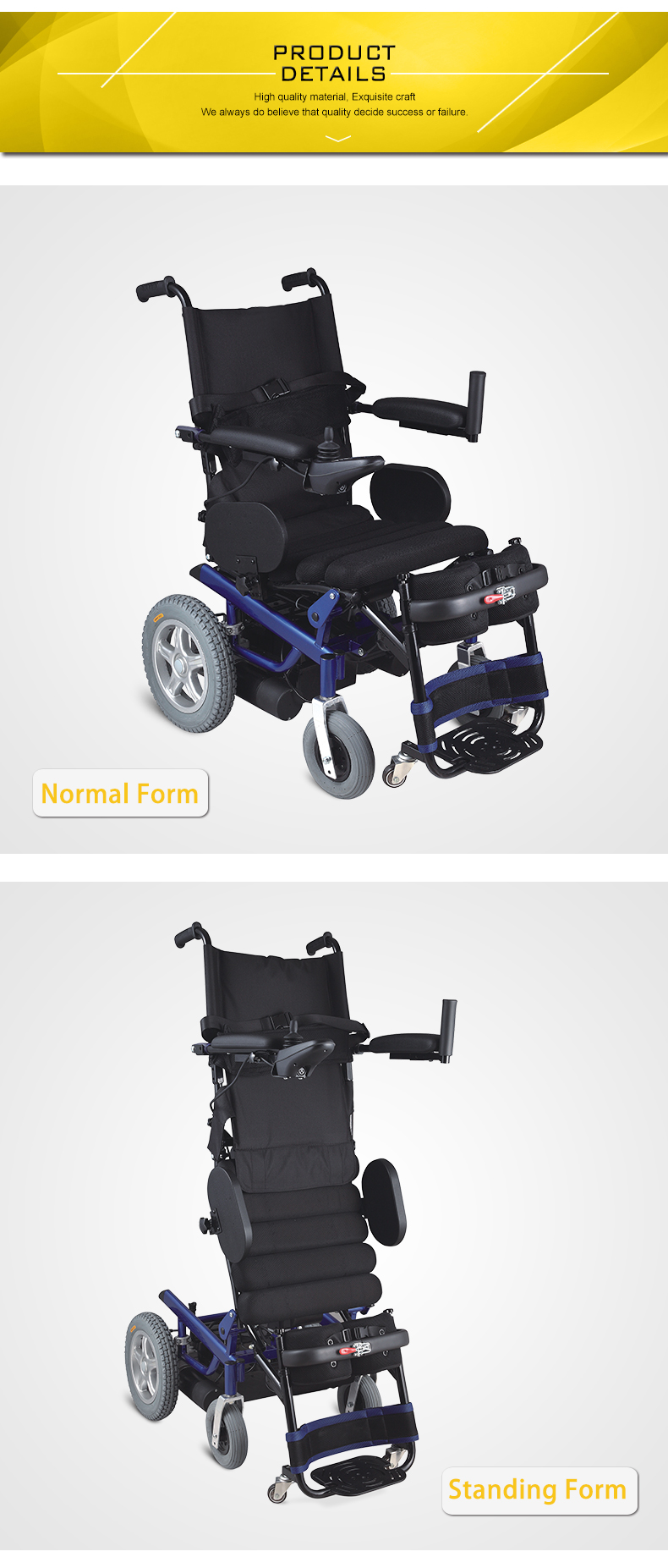Stand up lightweight foldable electric wheelchair for elderly and disabled.