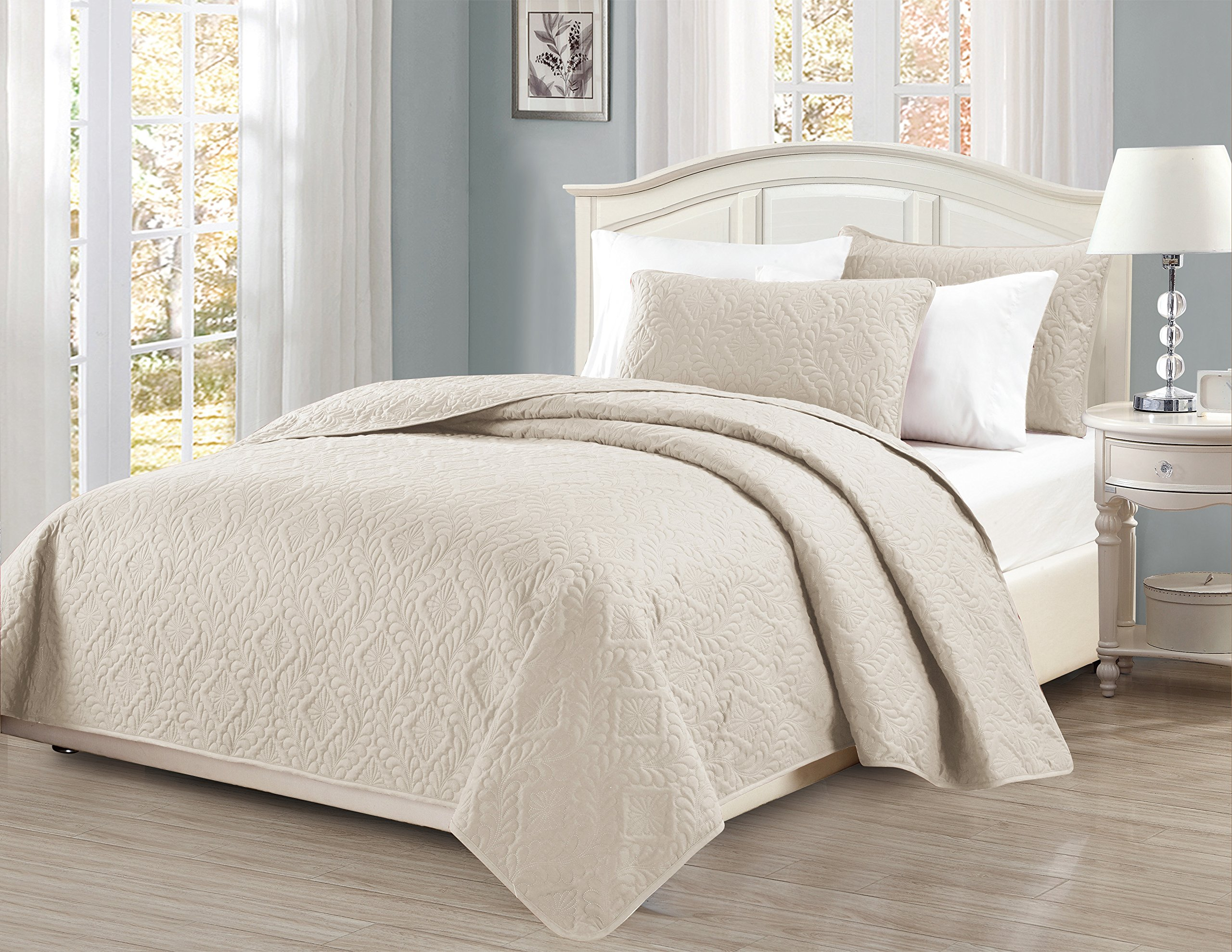 Fancy Collection 3pc King/California King Oversize Bedspread Coverlet Set Embossed Solid Beige New