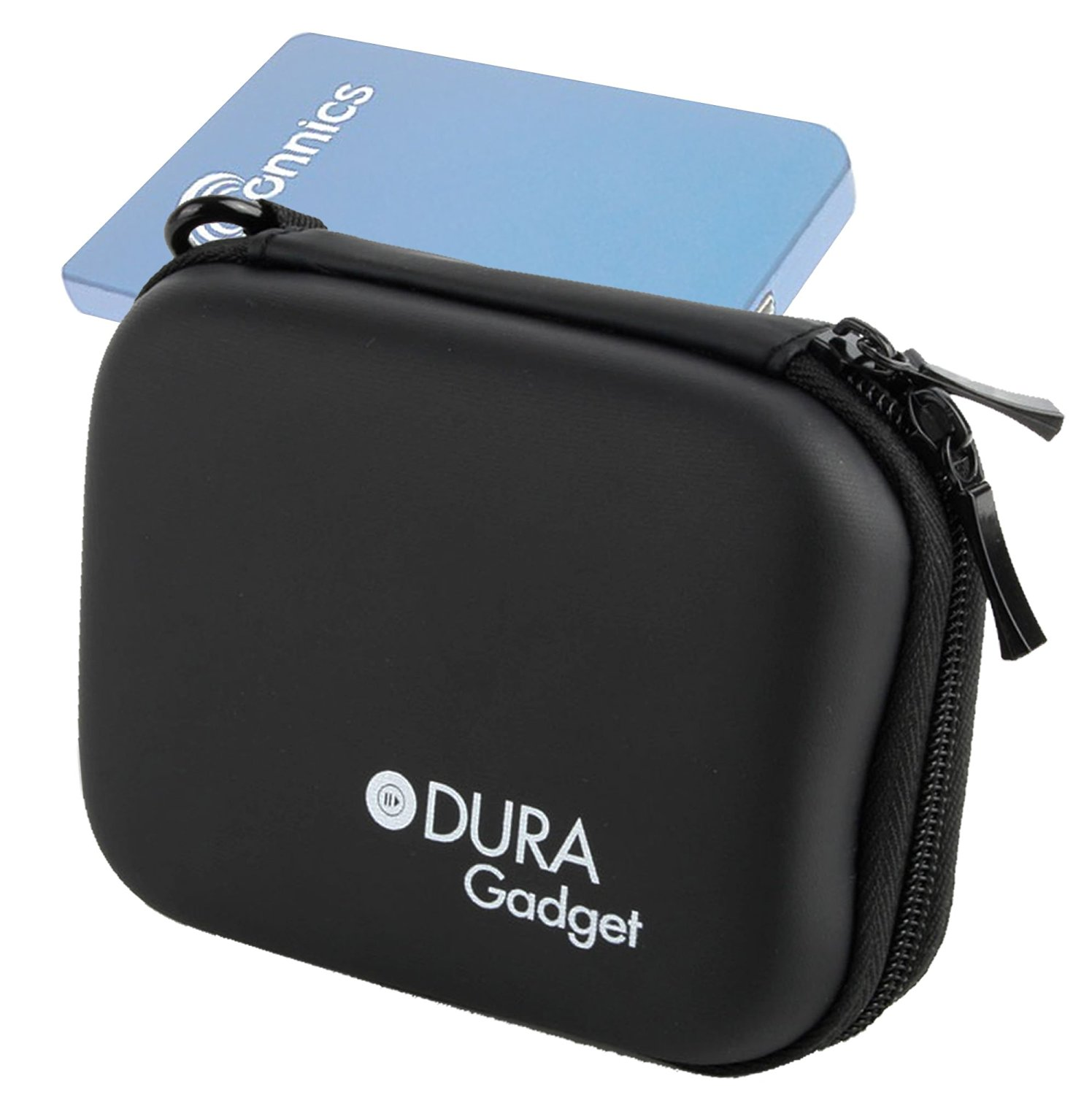 DURAGADGET Hardwearing Jet Black EVA Case With Soft Lining For The Sonnics 750GB 2.5 Inch External Pocket Sized USB Hard Drive (Black, Blue, Silver, Pink)