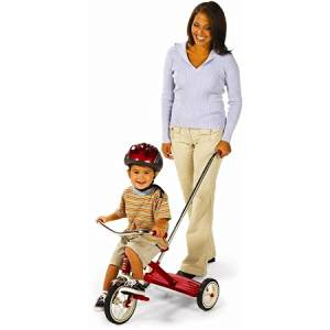 Radio Flyer Tricycle With Push Handle, Durable Steel Spoked Wheels with Real Rubber Tires
