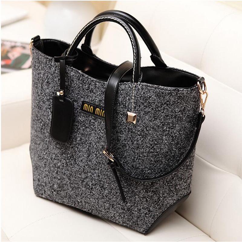 ed5f7871 Горячая акция новинка женщины ведро ретро женщины сумочку шерстяная ткань  дизайн сумка для женщин сумки LJ6008040