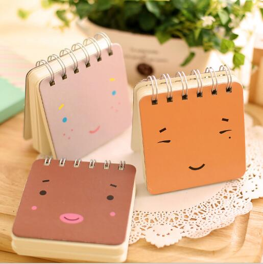 8.9*8.9cm Cute Emoji Notebook for Writing Mini Spiral Book Memo Book Stationery Office School Supplies 144sheets/book 106g/book