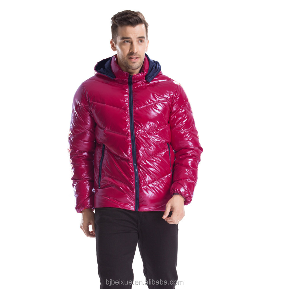 2017 Nylon windproof printed nice color mens lightweight duck down mens jackets with red color