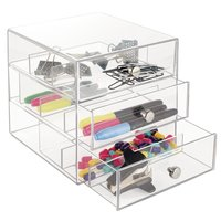 Acrylic Desk Drawer Organizer Home Storage Organization, Pen Pencil, Notepad, Paper Clip Holder, Sunglass Display Case