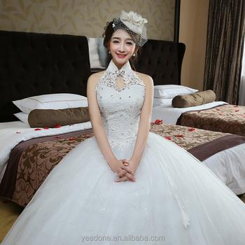 2018 China Factory Halter Keyhole Wedding Gown Plus Size Bridal