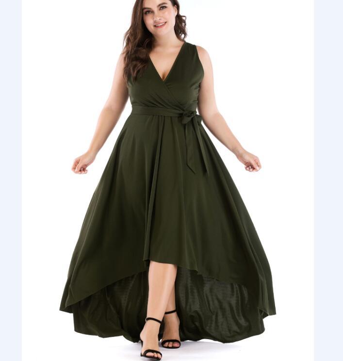 a0029e6b38 De gran tamaño fiesta profundo cuello en V sin mangas de noche Maxi vestido  verde Amy