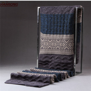 Men Fashion Warp Knitted Fabric Jacquard Winter Red Wool Neck Scarf