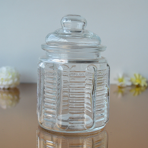 Chinese factory supply storage glass jar with glass lid
