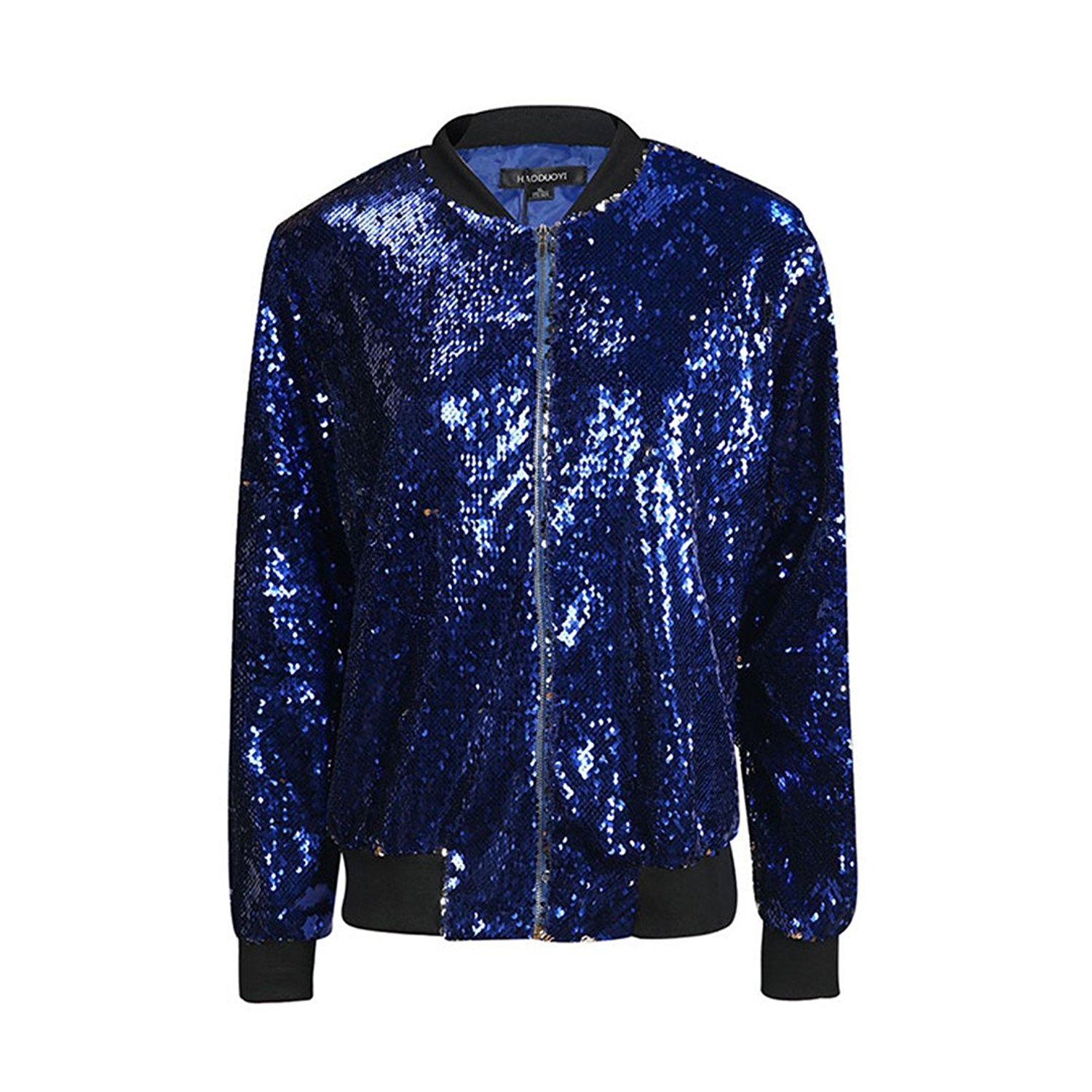 b8c4255294dd Get Quotations · bomberr Women s Sequined Jacket Green Bomber Jacket  Long-Sleeved Zip-Top Street Jacket