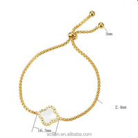 Yiwu Aceon Stainless Steel Gold Rolo Link Chain Adjustable Clover Charm Bracelet