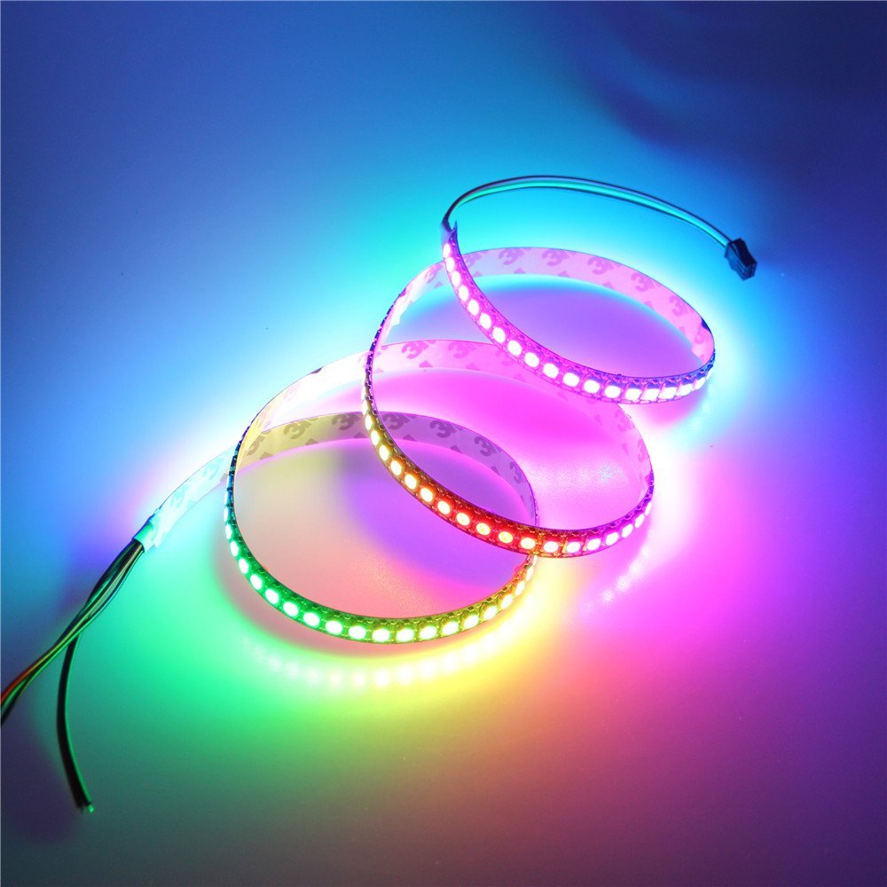 ALITOVE 3.2ft 144 Pixels WS2812B Individually Addressable LED Strip Light 5050 RGB Dream Color Programmable LED Rope Light Not Waterproof Black PCB