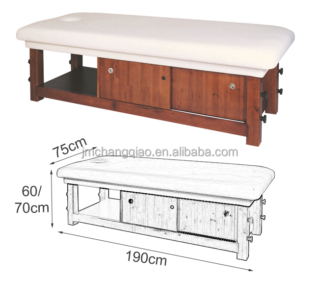 soild wood spa bed 610#,wood massage bed With lockers
