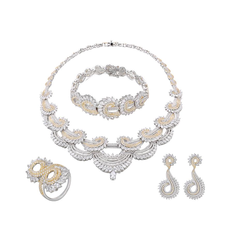 SET-3 xuping latest beautiful girl/women zircon jewelry set wedding, luxury costume elegant wedding bridal jewelry set
