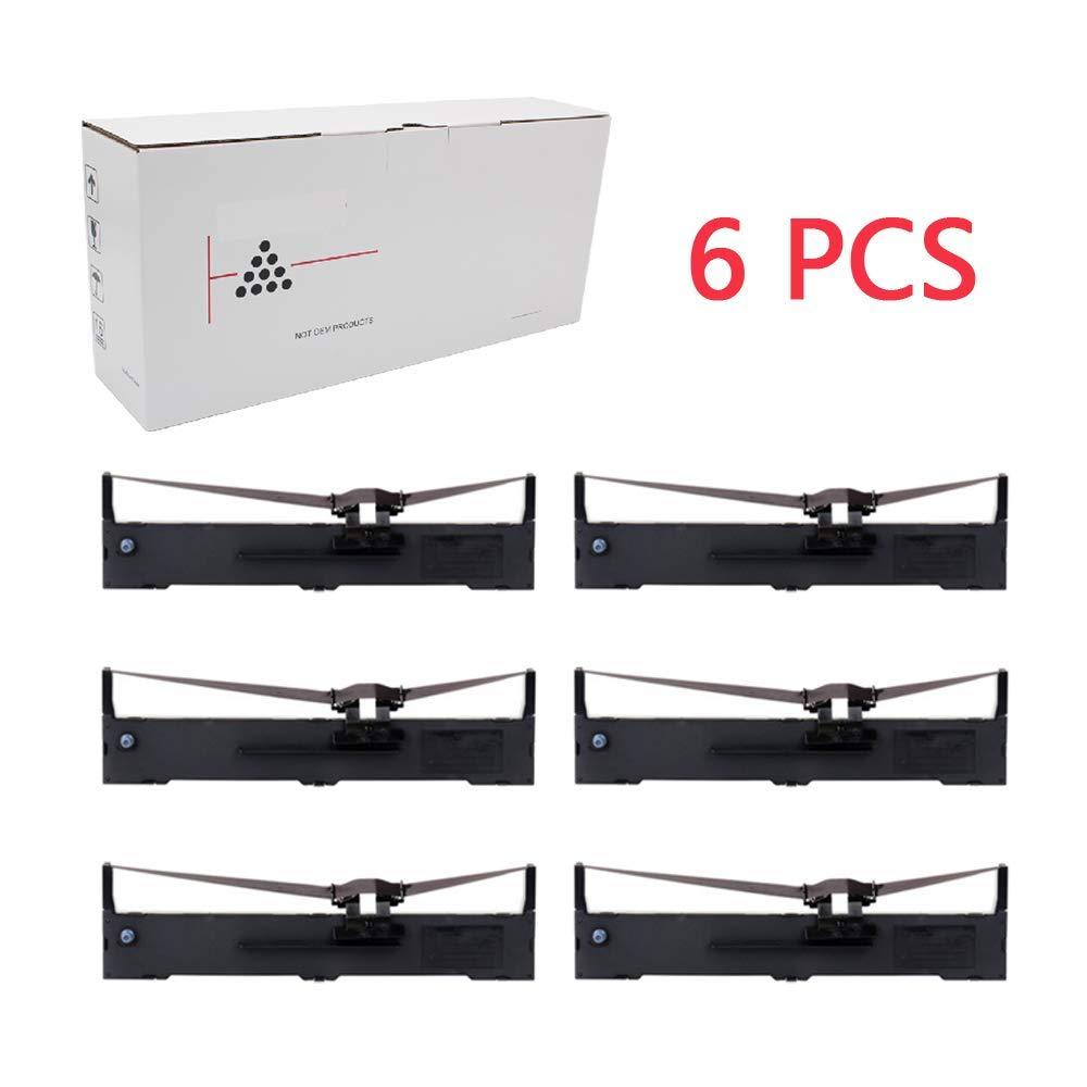 Hehua S015329 Compatible Black Ribbon Cartridge Epson S015329 Replacement FX-890, LQ-590(6 Pack Black)