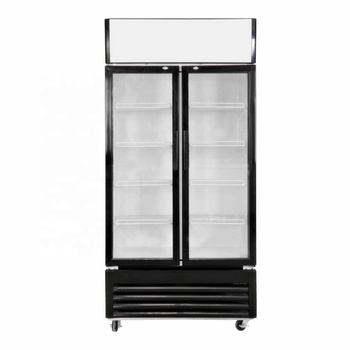 Hot sale upright refrigerated 2 door 700 liters display commercial fridge