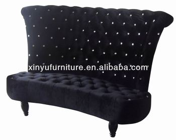 Eventing Furniture Black High Back Love Seat Sofa