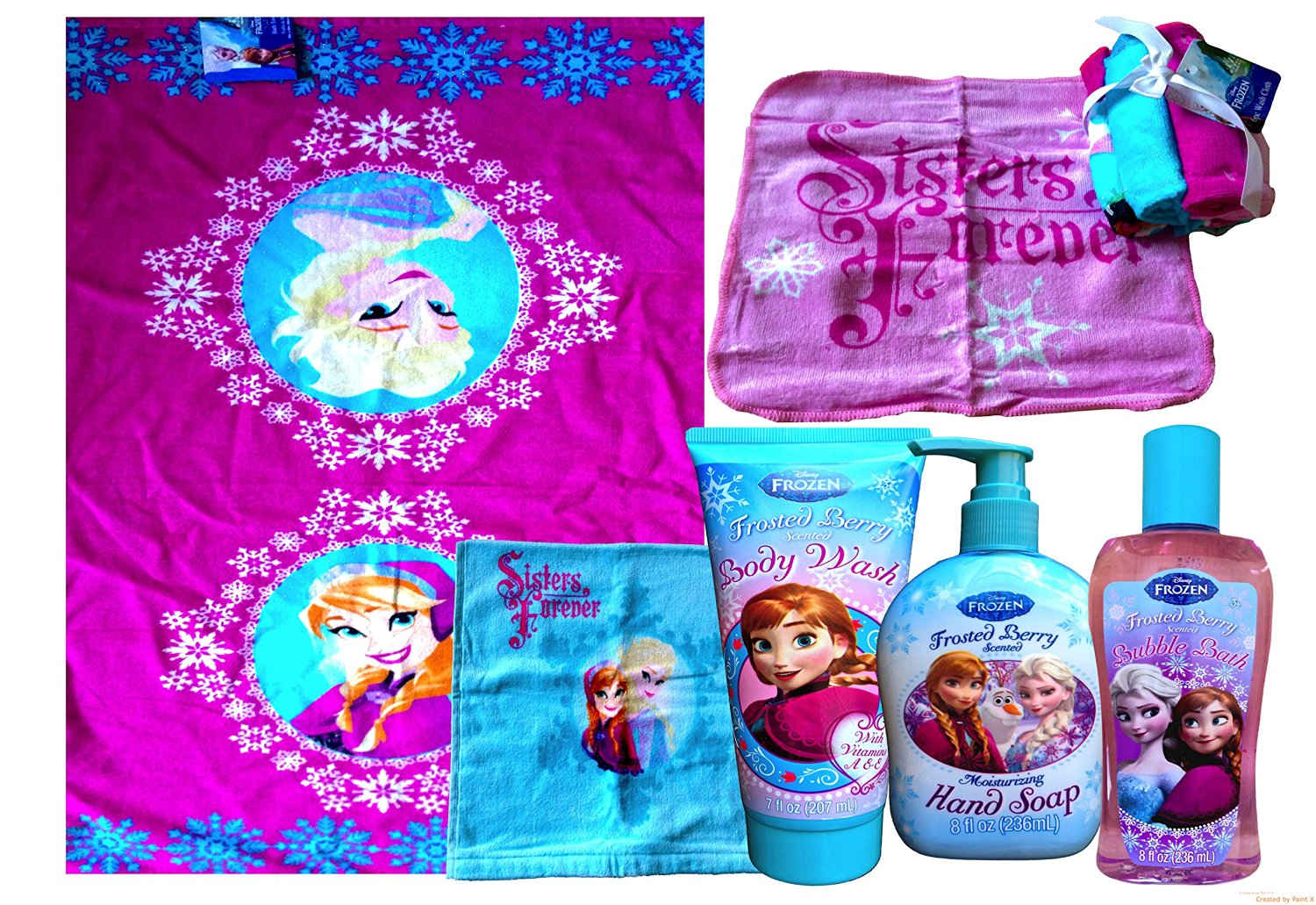 Disney Frozen Bath Towels Frosted Berry Disney Frozen Bathroom SET Disney Frozen Bubble Bath , Disney Frozen Hand Soap , Disney Frozen Conditioning Shampoo with 6 Pc Washcloth (PINK)
