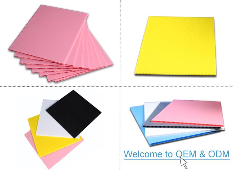 Placa oca de polipropileno de resistência à umidade/painel de plástico ondulado para impressão/embalagem/proteção