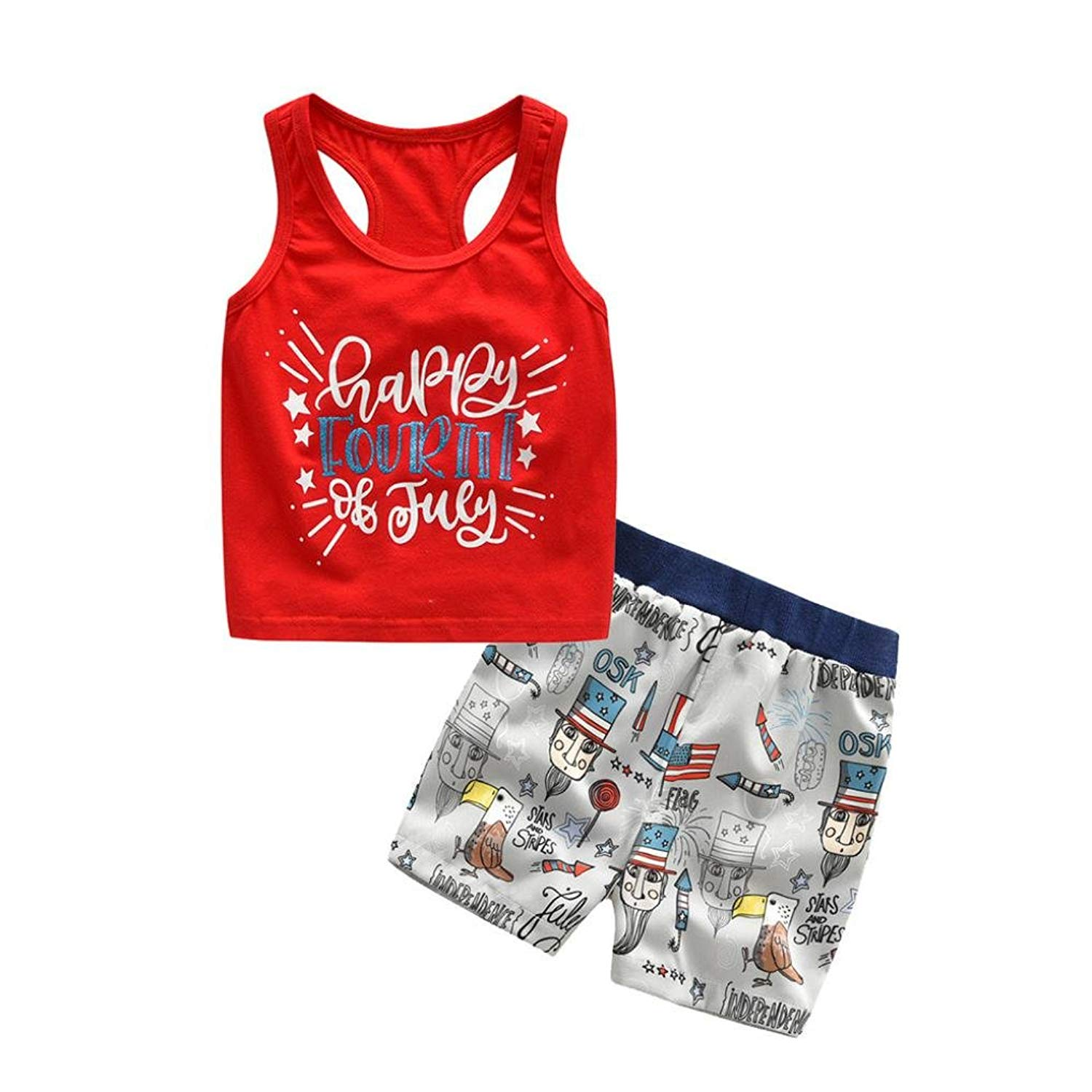 Jchen TM Toddler Baby Boys Girls Stars Striped Vest Tops+Shorts 4th of July Outfits Set for 0-24 Months