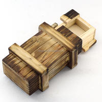 Small Magic Compartment Wooden Puzzle Box With Secret Drawer Brain Teaser