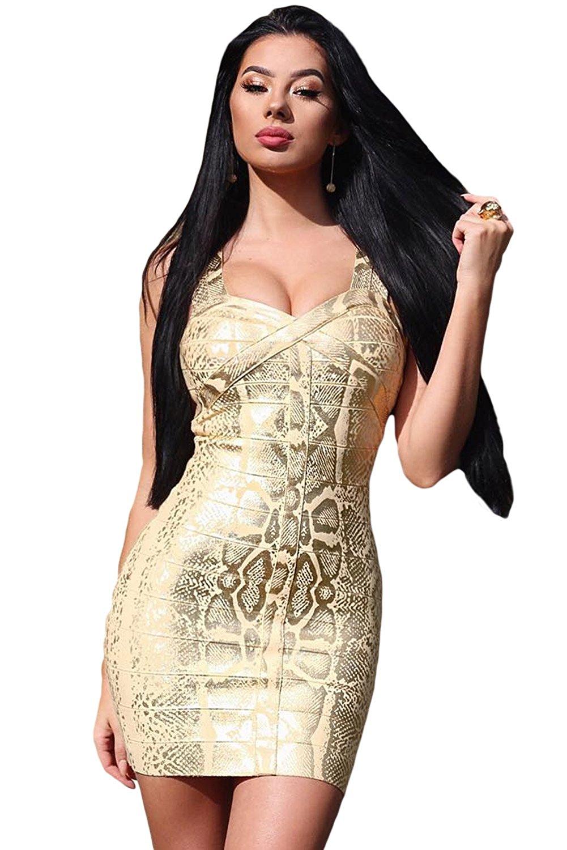 ecf2c778979 Get Quotations · O W Women Snake Woodgrain Foil Print Bandage Dress in Gold