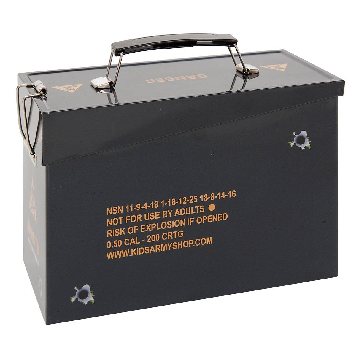 Kids Army Ammo Tin - Toy Storage Tin - Camouflage Ammo Box