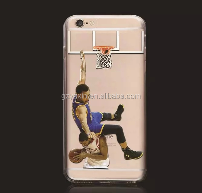 NBA Star Player Curry Westbrook Cases Jordan Kobe James Clear Case For Iphone 6 Printed Case For Iphone 6